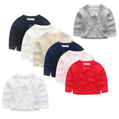 NEW Girls Knitted Cotton Cardigan 000-12Y Black-Red-White-Navy-Pink-Silver-Gold