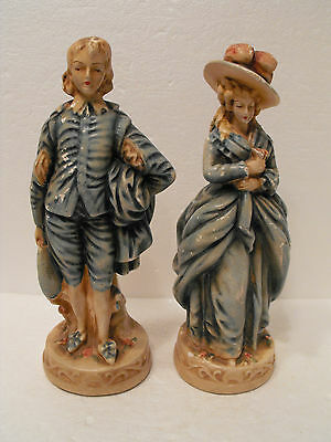 Vintage New Art Ware  Chalk Ware Victorian Man And Woman Figurines
