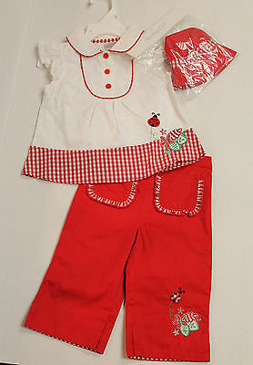 Infant Girl Size 18 Months 3-Piece Red & White Pants Outfit with Hat NEW