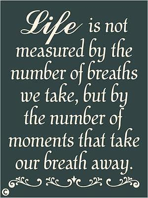 Primitive Stencil,  LIFE IS NOT MEASURED BY THE NUMBER OF BREATHS WE TAKE, Nice!