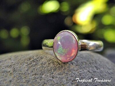 Created Pink Opal & 925 SOLID Silver Ring (Size 9 1/2, S 1/2 )    #151382