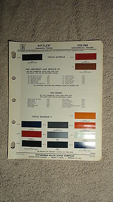 Ditzler Paint Chip Charts - 1952 - 1963 Commercial Colors