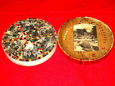 Rare Antique Straw Art Geisha Girl Round Photo Box Japan Japanese 6 Compartments