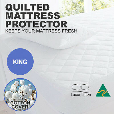 Aus Made 100% Cotton Cover Quilted Mattress Protector / Topper--KING