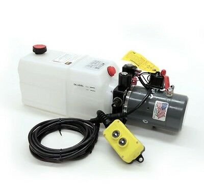Double Acting 12V DC Hydraulic Pump Power Pack Up Down Supply Unit 6 Quart Tank