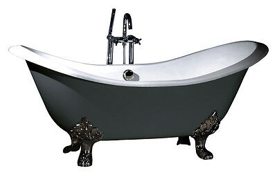 Roll Top Double Slipper Cast Iron Bath NO TAP HOLES+ Complete Package Deal