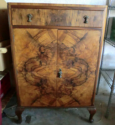 Antique Hardwood Burl Veneer Cabinet