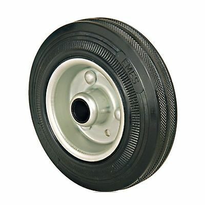 Set of 2 - 200mm Rubber Wheels Plain Bore - Replacement trolley wheels