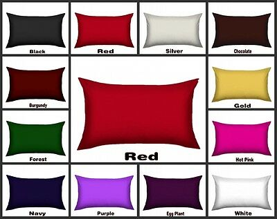 12 Colors Silky Satin Standard Pillowcase 48 x 74cm Pick Your Color Free Postage