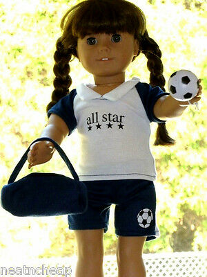 """Fits18"""" American Girl Doll Clothes Blue Soccer Outfit Uniform Ball Bag  4PC"""