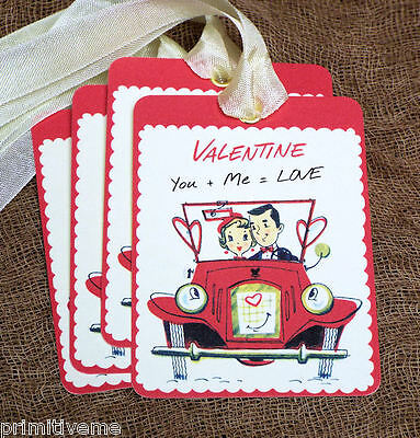 Hang Tags  RETRO COUPLE VALENTINE TAGS or MAGNET #599  Gift Tags