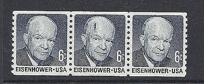 "US 1401 Dwight Eisenhower Strip of 3 - Printing Error/Flaw ""Gashed"" Head MNH*"