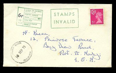 ISLE of MAN POSTAGE DUE 1973...INVALID STAMPS...PORT ERIN