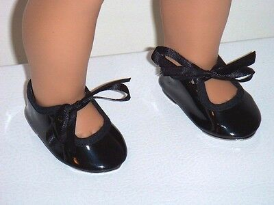 """Black Patent Tap Dance Shoes Metal Bottoms Fits 18"""" American Girl Doll Clothes"""