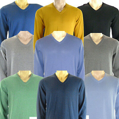 Marks & Spencer Mens Pure Cotton V Neck Jumper New M&S Sweater Pullover Top