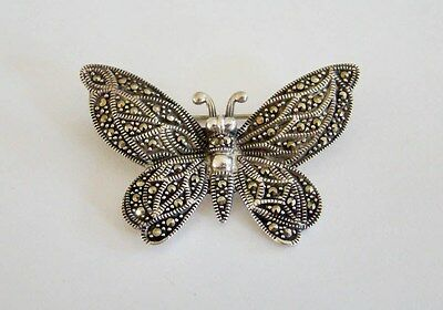 Sterling Silver 925 MARCASITE BUTTERFLY Brooch Pin