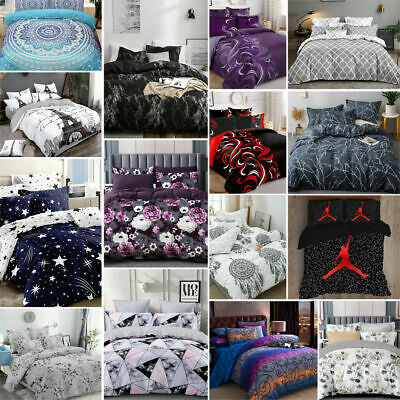 Reversible Bed Quilt Doona Duvet Cover Set Single Double Queen King-Love Forever