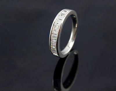 100% Real 925 Sterling Silver Cz Dress Eternity Wedding  Ring