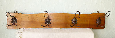 ANTIQUES VINTAGE 19`c Primitive WOODEN Clothes hanger Metal hook with Demon Face