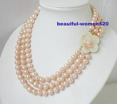 Rare Natural 10mm 3strands pink round pearls necklace