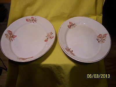 y KNOWLES, TAYLOR, KNOWLES 1890s SEMI PORCELAIN HD PAINTED SERVING PLATTERS