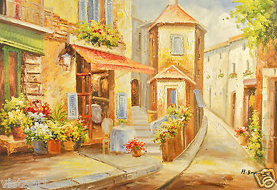 "Oil Painting On Canvas 24"" X 36""- Village Cafe"