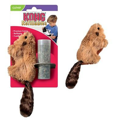 Kong Catnip Beaver Cat Kitten Toy Play Refillable + Vial of Catnip Included