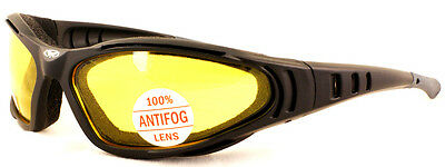 New Anti Fog Low Light Motorcycle Padded Glasses/Biker Sunglasses + Free Pouch