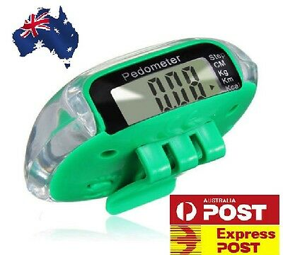 GREEN PEDOMETER STEP CALORIE COUNTER with BELT CLIP DISTANCE LCD AU NEW