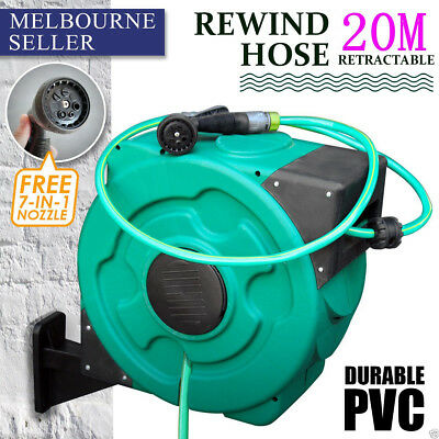 30 Meters Long Retractable Rewind Water Hose Gardening Reel Green With Free Gun