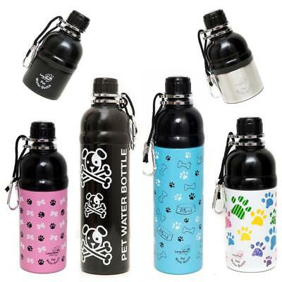 LONG PAWS Dog Puppy Pet Lick Water Stainless Steel Travel Bottle Drinker Waterer