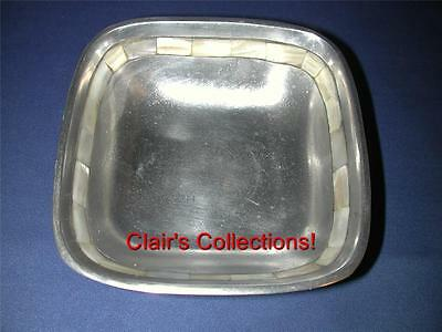 """***Towle Silversmiths Mother of Pearl Inlaid 6"""" Square Metal Alloy Bowl Candy"""