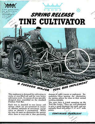 1950's Adv Sheet Crown Spring Release Tine Cultivator Fordson Tract. English O50
