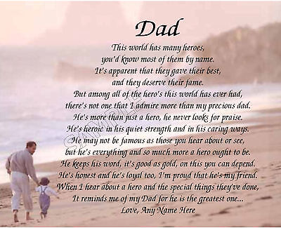 Dad My Hero Personalized Poem Memory Birthday Father's Day Gift