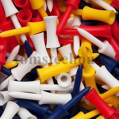 100 PLASTIC STEP GOLF TEES MEDIUM MIXED COLOURS (54mm) + Free Golf Ball Markers