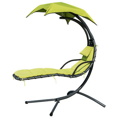 Finether Hanging Chaise Lounger Chair Swing Hammock Stand Air Porch Chai UV Sofa