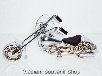 Hand Carved White Metal Art Motorcycle Model - HARLEY DAVIDSON - Handmade Gift