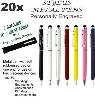 10 x Personalised Stylus Metal Pen Engraved. Wedding Bomboniere, Favours & Gifts