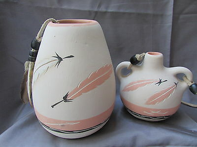 Desert Pueblo Pottery Company Twin Feather Signed Canteen and Jar Lot of 2