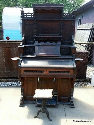 ***ULTRA RARE*** Western Cottage Pump Organ From 1889 W/ Hand Carved Ornate Top