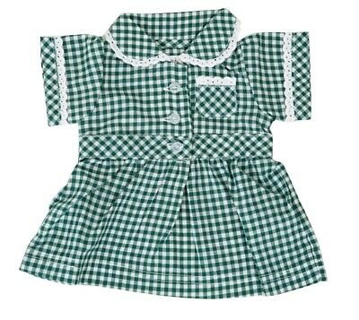 Frilly Lily Green Checked Summer School Uniform Dress For Dolls  Lots Of Sizes !