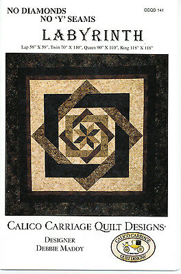 """Labyrinth Quilt Pattern by Calico Carriage Quilt Designs No Diamonds / """"Y"""" Seams"""