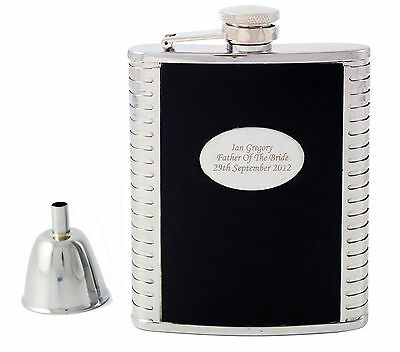 Personalised Engraved Black Leather, Steel 6oz Hip Flask,Funnel+Gift Box-Wedding