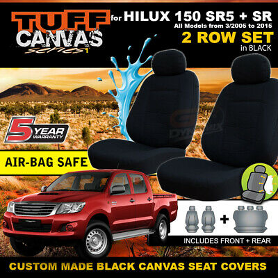 Custom BLACK Canvas Seat Covers to suit TOYOTA HILUX SR5 F+R 03/2005-2015 + SR