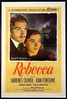 Rebecca Laurence Olivier Joan Fontaine Hitchcock Thriller 1946 1-Sheet