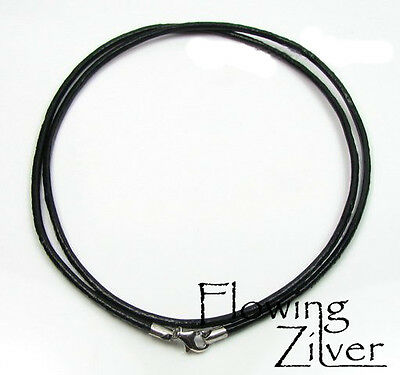 """925 Sterling Silver & Leather Cord Necklace Choker 2mm 45cm 18"""" Lobster Clasp"""