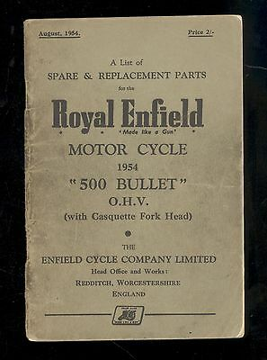 1954  ROYAL ENFIELD MODEL 500cc BULLET OHV MOTORCYCLE  PARTS MANUAL