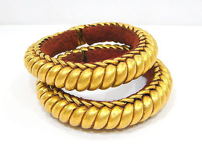 Vintage Antique Ethnic Tribal Solid 20K Gold Flexible Bracelet Bangle Pair India