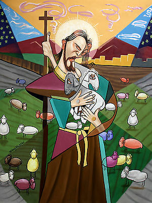 The Lord Is My Shepherd Original Painting Christian Art Jesus Lamb Anthony Falbo