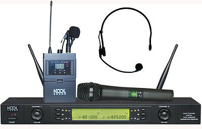 2x100 CH UHF Wireless Handheld Lavalier Headset Microphones Mic System KS-612 B